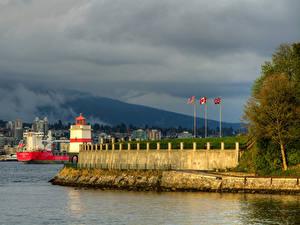 Фотография Канада Здания Пирсы Маяки Ванкувер Залив Stanley Park Города