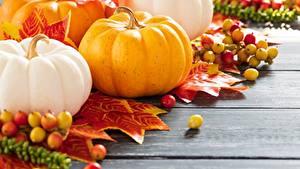 Обои для рабочего стола Тыква Осенние Доски Продукты питания