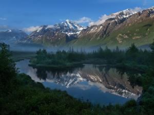 Картинки Леса Горы Речка Штаты Аляска Природа