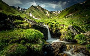 Обои Франция Водопады Камни Пейзаж Холмы Мох Трава Ручей Природа