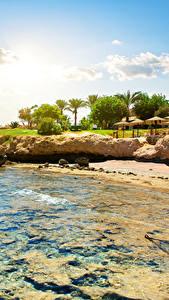 Картинка Египет Побережье Курорты Камни Небо Sharm el Sheikh Природа