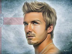 Фотографии Футбол Рисованные Мужчина Голова Красивый Лицо David Robert Joseph Beckham спортивный Знаменитости