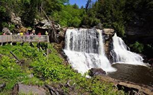 Обои Штаты Речка Водопады Утес West Virginia, Monongahela river, Blackwater Falls Природа
