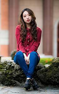 Картинки Азиатка Камни Размытый фон Сидя молодая женщина