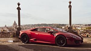 Фотография Lamborghini Сбоку Красные CGI Huracan LP-580 by Sebastian Ladan Автомобили