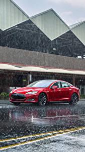 Фотографии Тесла моторс Дождь Красный 2012-14 Model S P85 Авто
