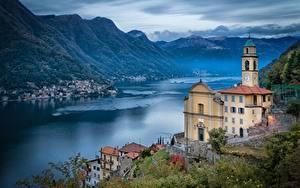 Фотографии Здания Побережье Озеро Церковь Италия Lago di Como, Pognana Lario, Lombardy, Church Of San Miro Города
