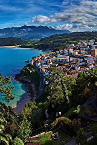 Фотографии Испания Побережье Дома Гора Деревья Lastres Asturias