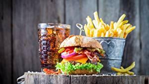 Фото Фастфуд Гамбургер Coca-Cola Картофель фри