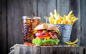 Фото Фастфуд Гамбургер Coca-Cola Картофель фри Еда