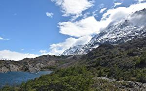 Картинка Чили Гора Озеро Облака Patagonia, Torres del Paine National Park Природа