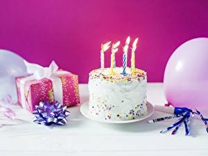 Фотография Праздники Свечи Торты День рождения Подарки Пища
