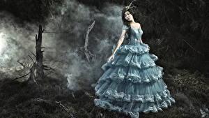 Фотография Азиаты Платье Красивая Девушки