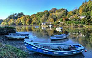 Фотографии Англия Реки Леса Берег Лодки Lerryn Природа