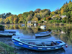 Фотографии Англия Реки Лес Берег Лодки Lerryn Природа