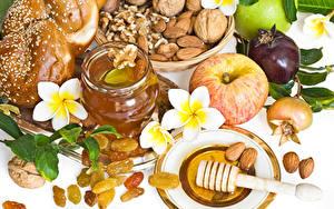 Обои Яблоки Мед Плюмерия Орехи Изюм Пища