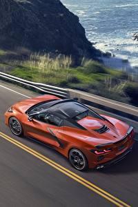 Картинка Шевроле Оранжевая Сверху convertible Stingray Corvette C8 авто