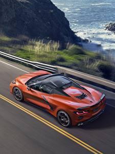 Обои для рабочего стола Шевроле Оранжевая Сверху convertible Stingray Corvette C8 авто