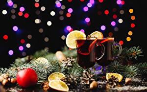 Картинка Напитки Рождество Бокалы Ветвь Пища