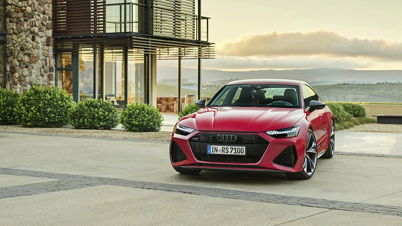 Обои для рабочего стола Audi Sportback RS 7 2020 красная Спереди Металлик Автомобили 1366x768 Ауди Красный красные красных авто машины машина автомобиль
