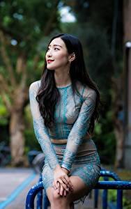 Фотографии Азиатка Боке Сидит Брюнетка Улыбка девушка