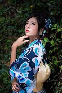 Фотографии Азиатки Ветвь Поза Руки Кимоно Брюнетка молодая женщина