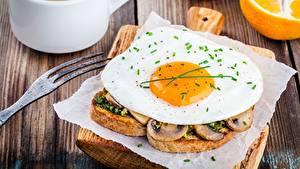 Картинка Бутерброды Яичница Завтрак Еда