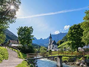 Фотография Германия Реки Мосты Бавария Поселок Berchtesgaden