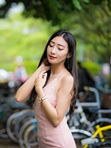 Фотографии Азиатки Боке Руки Милая Брюнеток Платье девушка