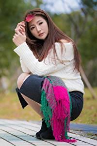 Фотография Азиатки Размытый фон Поза Сидит Шатенка молодые женщины