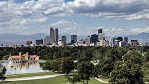 Картинки Штаты Небоскребы Деревья Denver, Colorado