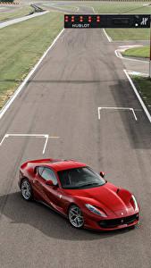 Картинка Феррари Красный Сверху 2017 812 Superfast Автомобили