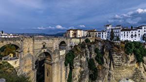 Обои Испания Дома Мосты Скалы Ronda Andalusia Города