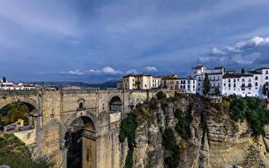 Обои Испания Дома Мосты Скалы Ronda Andalusia город
