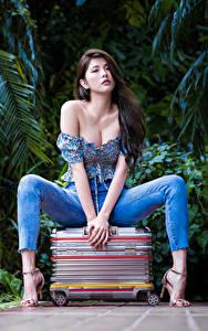 Обои Азиатка Чемоданы Сидит Джинсов Блузка Вырез на платье Смотрит Поза молодая женщина