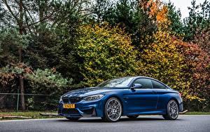 Обои БМВ Синие Металлик Купе Сбоку M4 Competition Автомобили