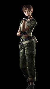 Фотографии Resident Evil Черный фон Rebecca Chambers Игры 3D_Графика Девушки
