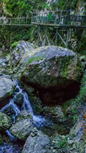 Фото Франция Мосты Камни Водопады Каньон Мох Gorges de la Fou Природа