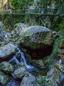 Фото Франция Мосты Камни Водопады Каньон Мох Gorges de la Fou