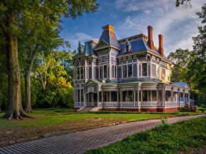 Фото Америка Здания Особняк Дизайна Тротуар Newnan Georgia Города