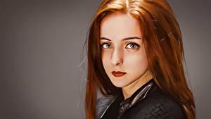 Фото Рыжая Волос Смотрят Красивые Лицо Фэнтези Девушки