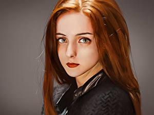 Обои для рабочего стола Рыжая Волос Смотрят Красивые Лицо Фэнтези Девушки