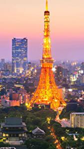 Фотографии Япония Токио Дома Небоскребы Вечер Башни