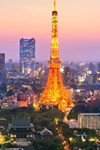 Фотографии Япония Токио Дома Небоскребы Вечер Башня