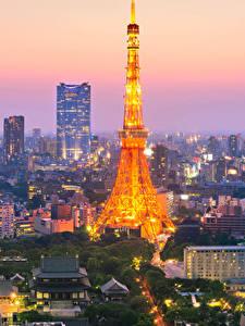 Фотографии Япония Токио Дома Небоскребы Вечер Башня Города