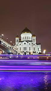 Обои Храмы Мосты Москва Собор Россия Ночь Едущий Cathedral of Christ the Saviour Города