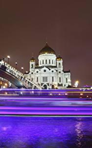 Обои Храмы Мосты Москва Собор Россия Ночью Едущий Cathedral of Christ the Saviour Города
