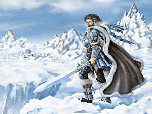 Картинка Воин The Elder Scrolls Мужчины Мечи Плащом Доспехе Снегу компьютерная игра Фэнтези