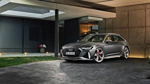 Обои для рабочего стола Audi Серый Универсал 2019 RS 6 Avant Worldwide машина