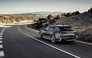 Картинка Дороги Ауди Вид сзади Едущий Универсал 2020 2019 V8 Twin-Turbo RS6 Avant авто